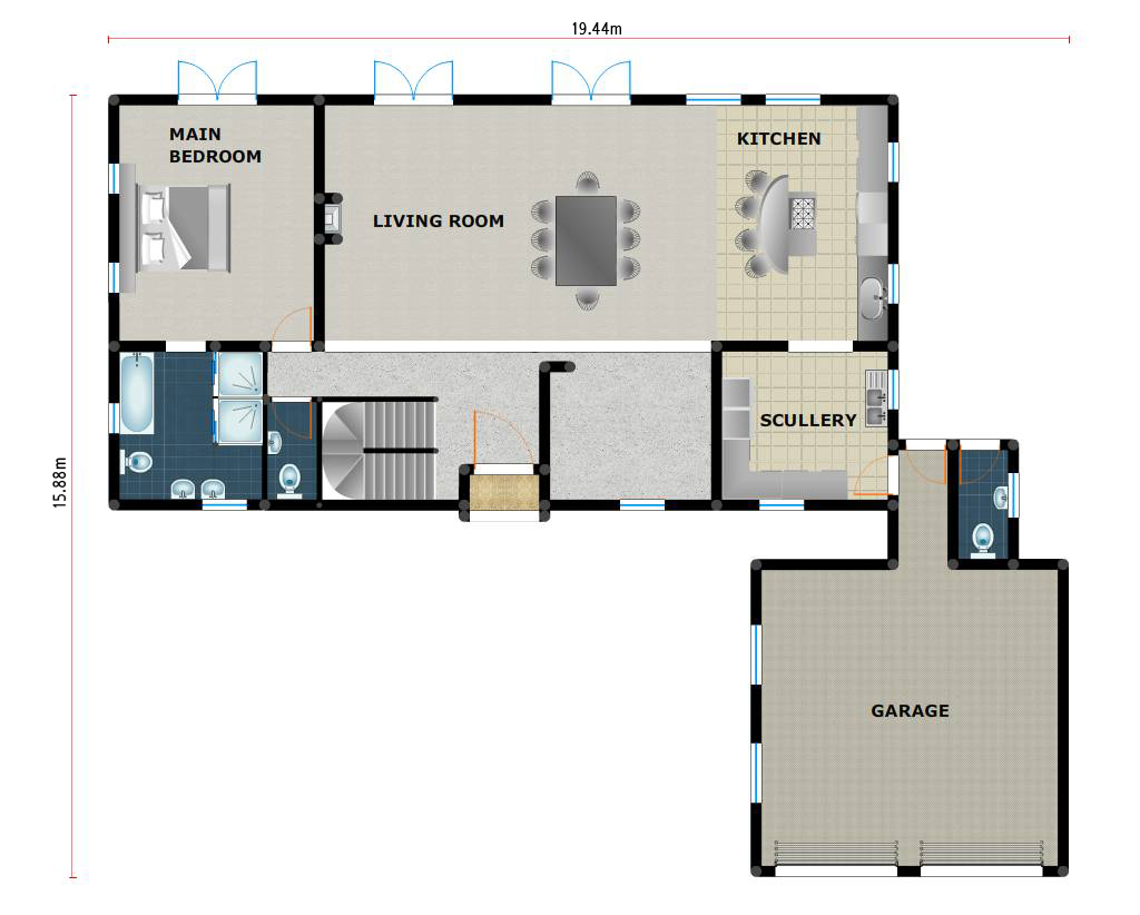 House plan pl0022c floorplan ground