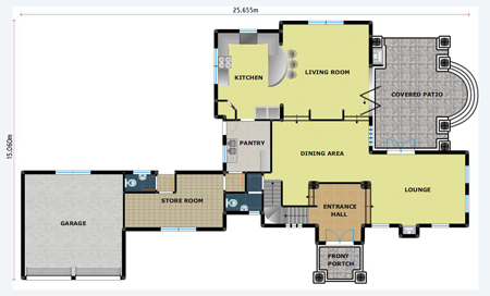 House Plan PL0022C, Floorplan Ground