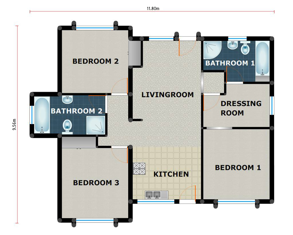 3 bedroom 2 bathroom pl0002b kmi houseplans for House plans co