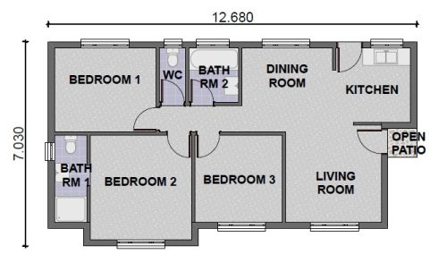 3 bedroom 4 bathroom 80kmituscan kmi houseplans for Round house plans free
