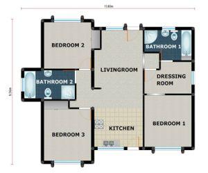 3 Bedroom / 2 Bathroom (PL0002F) - KMI Houseplans