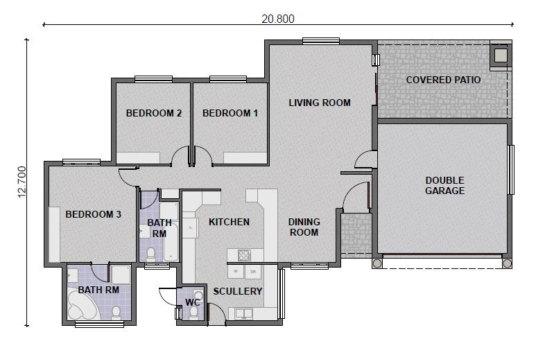 3 Bedroom / 3 Bathroom (PL0027B) - KMI Houseplans